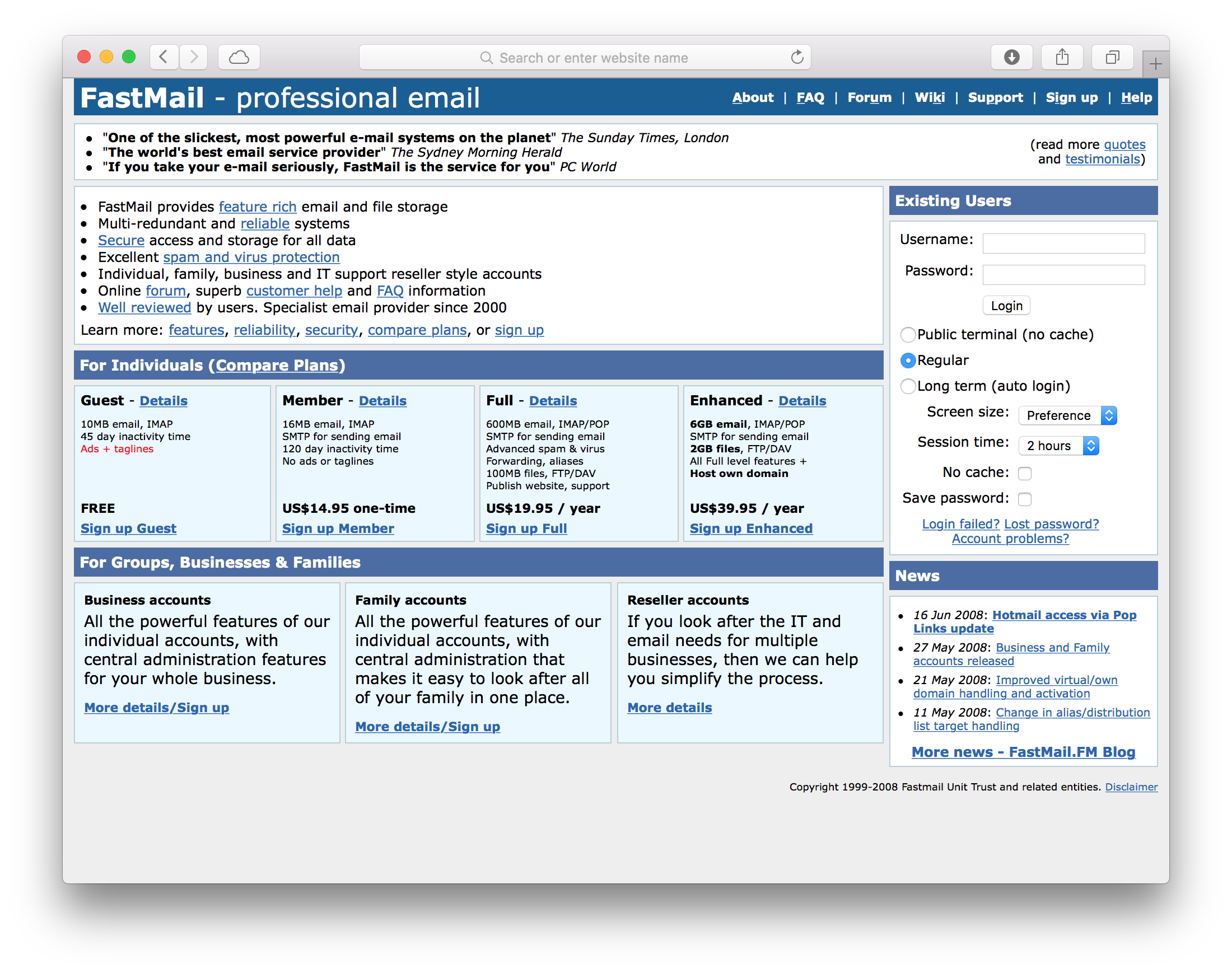 Dec 2: FastMail's Homepage Through The Ages