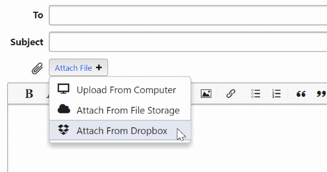 File chooser dropdown showing Dropbox selected