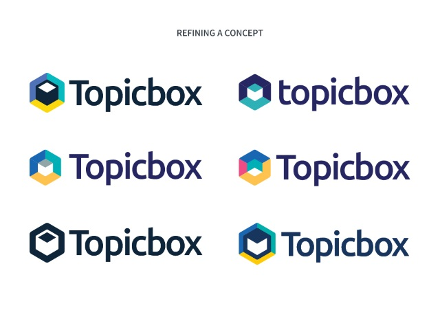 second round of topicbox logo ideas in colour