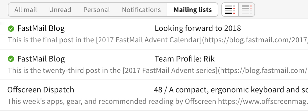 Image of filter buttons in the UI with the mailing list button selected